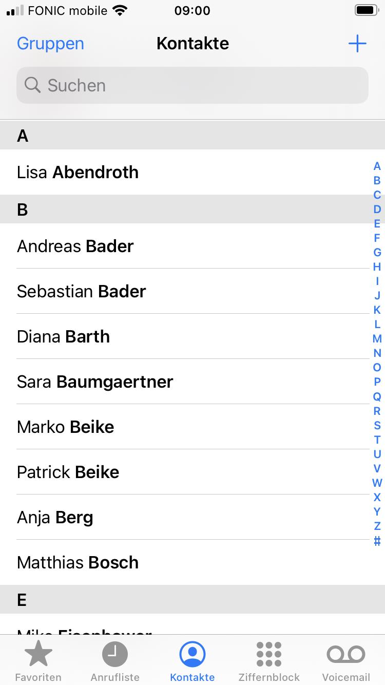 Fireset Sync Kontakte iOS